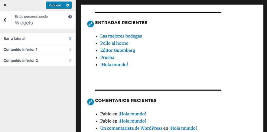 gestionar widgets con vista previa en wordpress