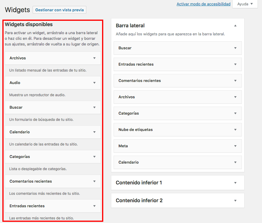 widgets disponibles wordpress