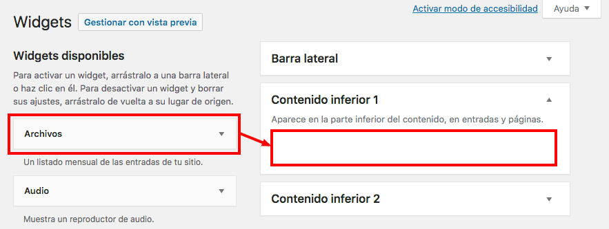 añadir widgets en wordpress