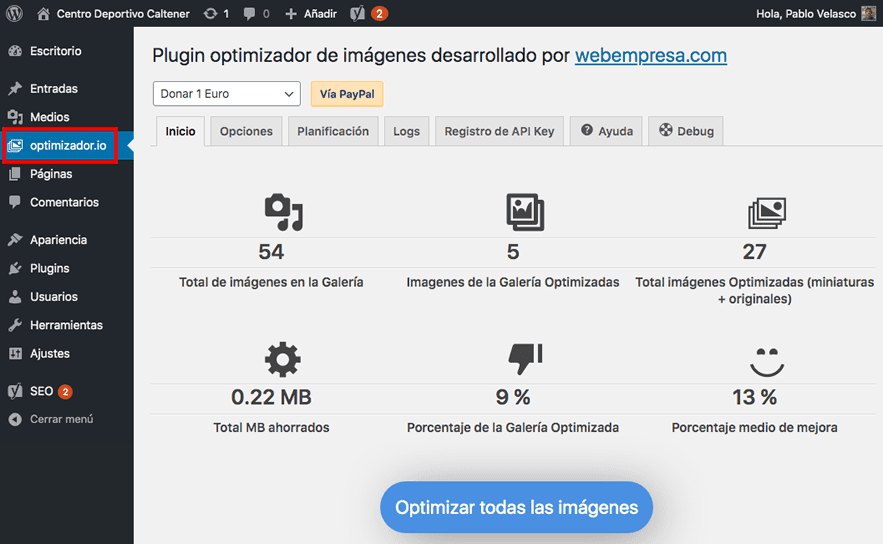configurar plugin optimizador.io