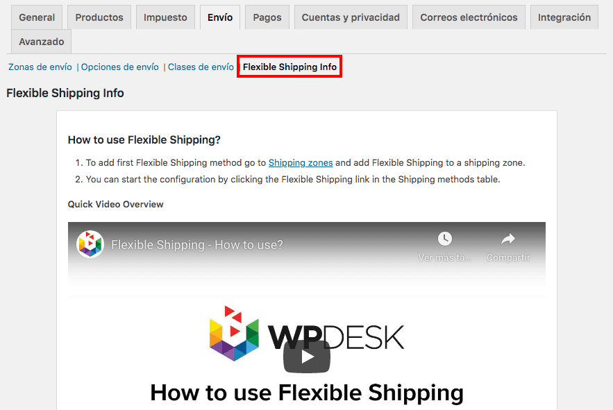tutorial de uso del plugin Table Rate for WooCommerce by Flexible Shipping