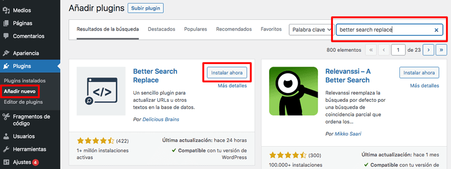 instalar Better Search Replace